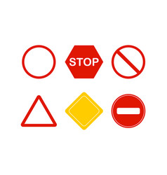 set of signs stop red and white color in flat vector image