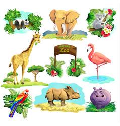 set of zoo safari vector image