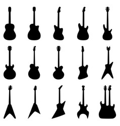 Set silhouettes acoustic guitars electric vector
