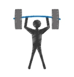 Silhouette man lifting barbell vector