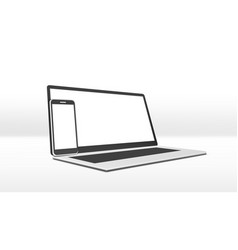 simple clear laptop and smartphone with white vector image