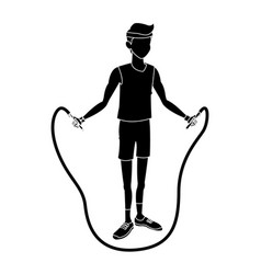 Sport man fitness jump rope lifestyle silhouette vector