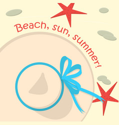 summer hat on the sand with starfish and stones vector image