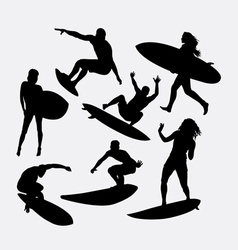 Surfer male and female silhouette vector