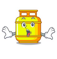 Surprised creative in gas cartoon tank container vector