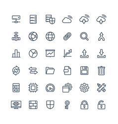 thin line icons set with big data and vector image