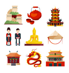 Traditional chinese cultural objects vector