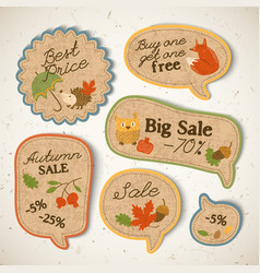 vintage seasonal sale stickers set vector image