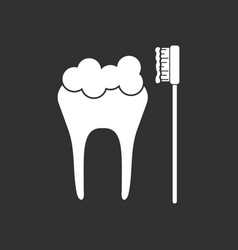 White icon on black background tooth vector