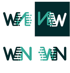 Wn letters logo with accent speed green and dark vector