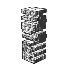 Wooden block tower game sketch engraving vector