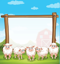 wooden frame with sheeps in the farm vector image