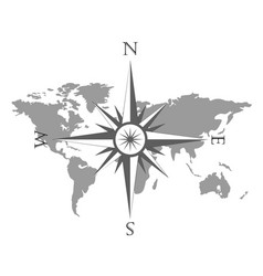 world map with wind rose vector image