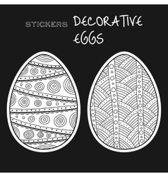 Black white decorative eggs set of stickers on vector
