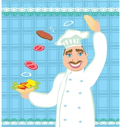 chef preparing a burger vector image