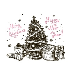 hand drawn christmas tree 5 vector image vector image