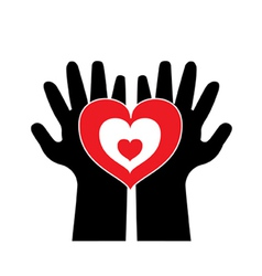 love with both hand vector image vector image