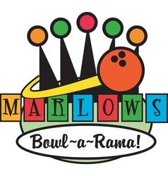 Retro Bowling Alley logos vector image vector image