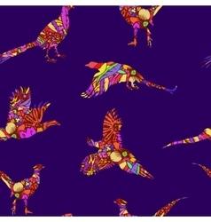 Seamless pattern of bird pheasant vector image