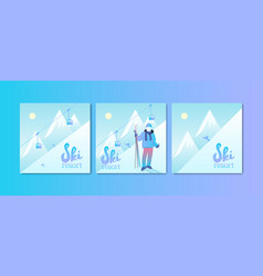 ski resort poster set vector image