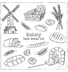 bread hand drawn set vector image
