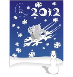 dragon on snowflake vector image vector image