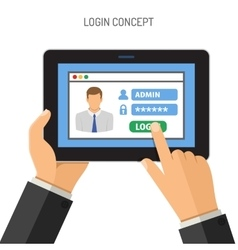 Login concept on tablet PC vector image