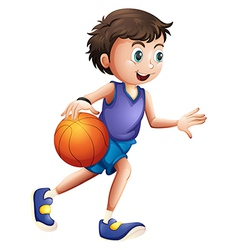 An energetic young man playing basketball vector image vector image