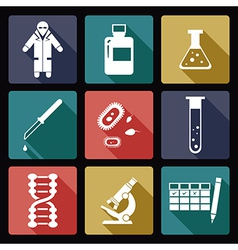 Biology flat icons vector image vector image