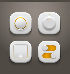 Buttons Switches Knobs Set With Realistic Light vector image