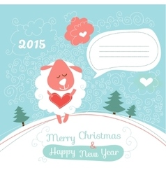 Greeting card with a sheep vector