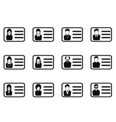 id card head icon set vector image