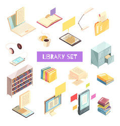 Library isometric set vector