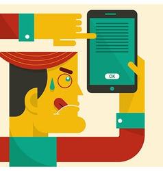 Man looking at smart phone vector image vector image