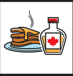 canadian pancakes in maple syrup isolated vector image vector image