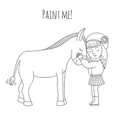 Coloring girl and donkey vector