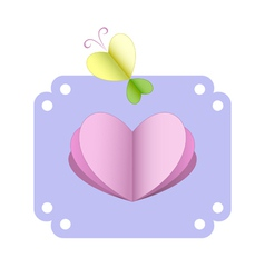 greeting card with heart and butterfly vector image vector image