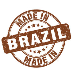 made in brazil brown grunge round stamp vector image vector image