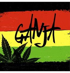 Marijuana silhouette Ganja typography marijuana vector image