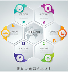 abstract 3d infographic template with 6 options vector image