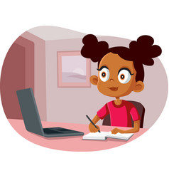 african school girl studying from home vector image