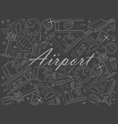 airport piece of chalk line art design vector image