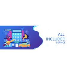 All-inclusive hotel concept banner header vector