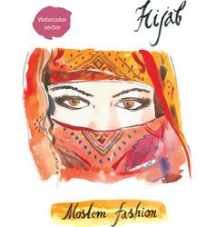 arabian hijab watercolor vector image