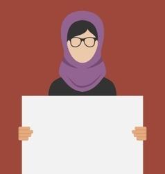 Arabic Woman Holding a Blank Horizontal Banner vector image