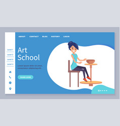 Art school lessons pottery making website page vector