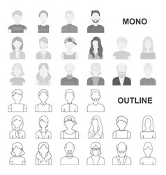 Avatar and face monochrom icons in set collection vector