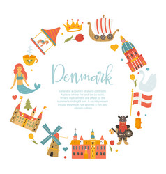Banner with danish symbols famous places vector