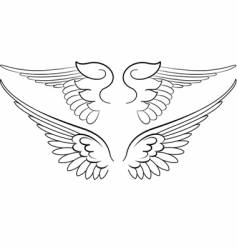 Baroque wings in calligraphy style vector
