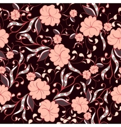 Beautiful seamless floral pattern in bright pink vector image vector image